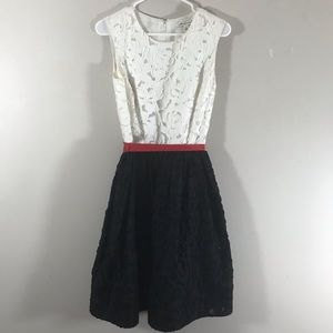 Banana Republic white lace black red bow dress